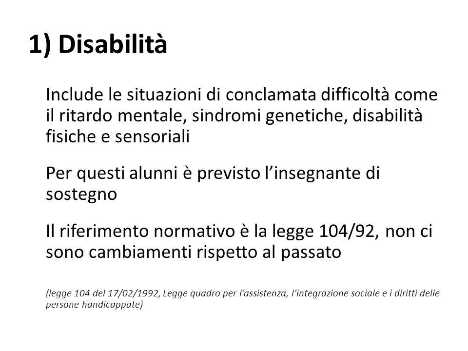 1) Disabilità Include le situazioni di conclamata difficoltà come il ritardo mentale, sindromi genetiche, disabilità fisiche e sensoriali Per questi a