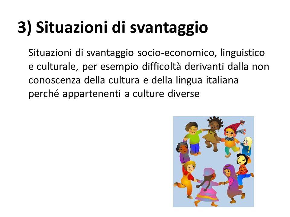 3) Situazioni di svantaggio Situazioni di svantaggio socio-economico, linguistico e culturale, per esempio difficoltà derivanti dalla non conoscenza d