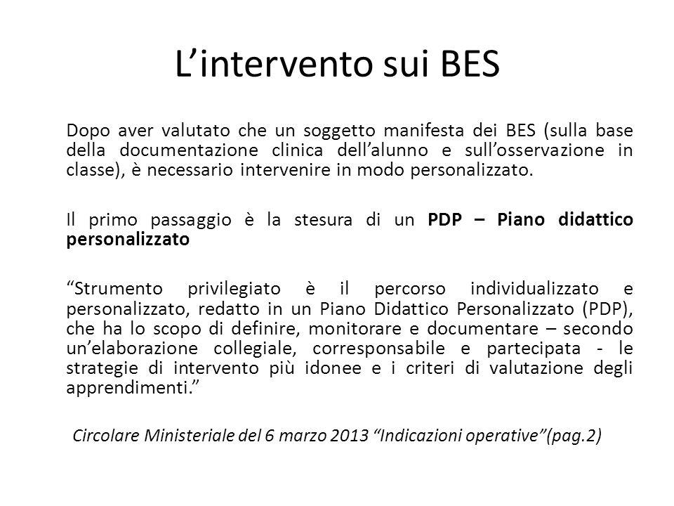 L'intervento sui BES Dopo aver valutato che un soggetto manifesta dei BES (sulla base della documentazione clinica dell'alunno e sull'osservazione in