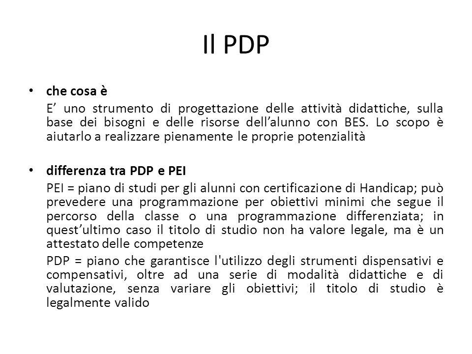 Il PDP che cosa è E' uno strumento di progettazione delle attività didattiche, sulla base dei bisogni e delle risorse dell'alunno con BES. Lo scopo è