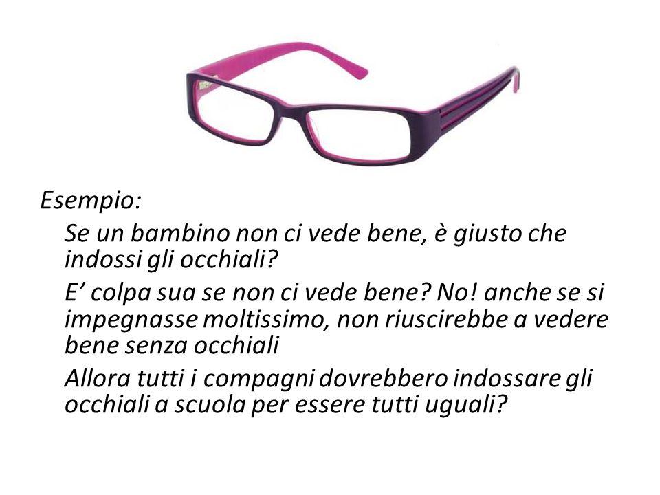 Esempio: Se un bambino non ci vede bene, è giusto che indossi gli occhiali? E' colpa sua se non ci vede bene? No! anche se si impegnasse moltissimo, n