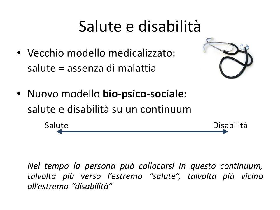 Salute e disabilità Vecchio modello medicalizzato: salute = assenza di malattia Nuovo modello bio-psico-sociale: salute e disabilità su un continuum S