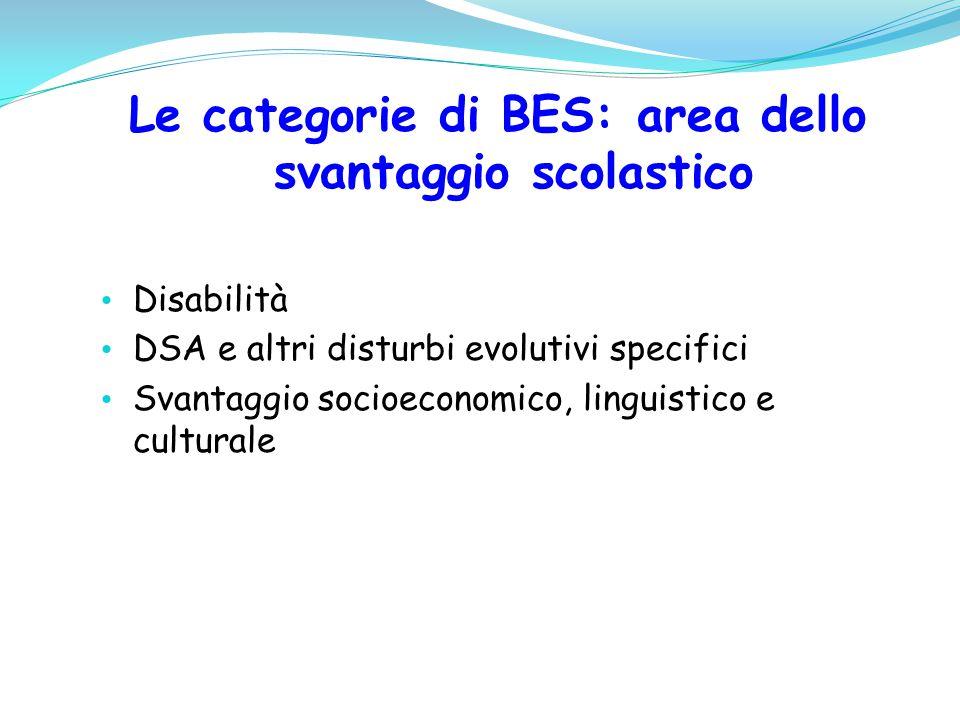 Le categorie di BES: area dello svantaggio scolastico Disabilità DSA e altri disturbi evolutivi specifici Svantaggio socioeconomico, linguistico e cul