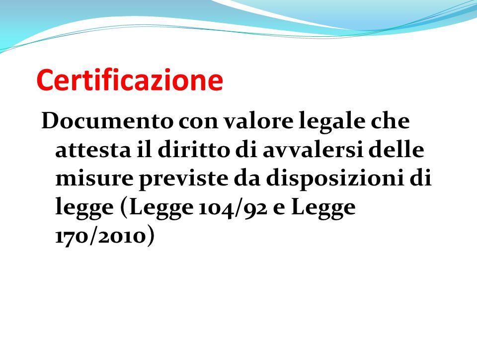 Certificazione Documento con valore legale che attesta il diritto di avvalersi delle misure previste da disposizioni di legge (Legge 104/92 e Legge 17