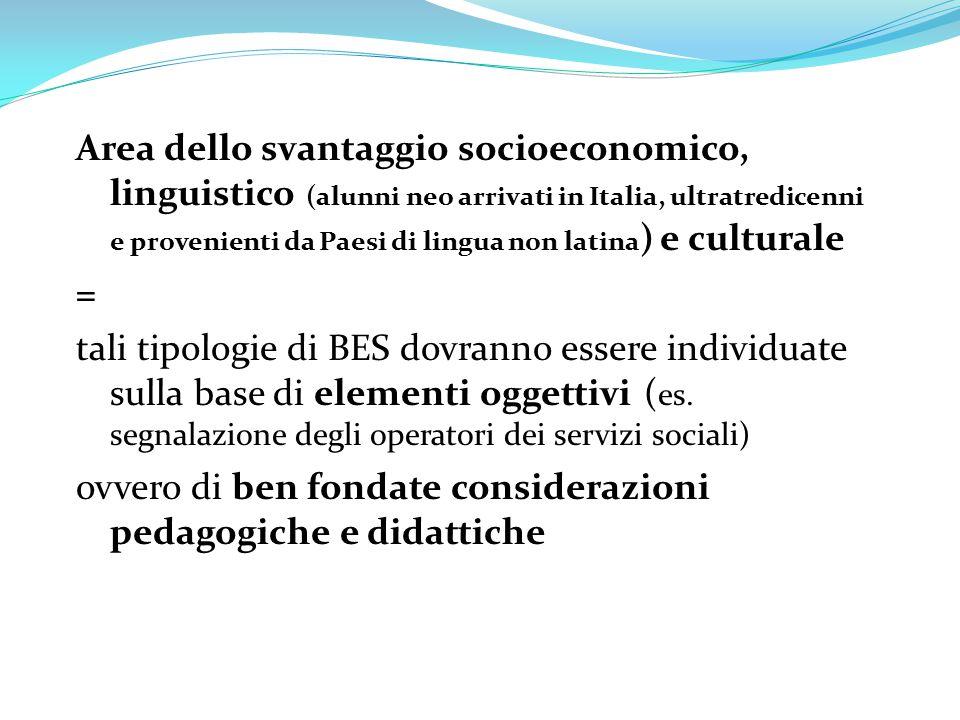 Area dello svantaggio socioeconomico, linguistico (alunni neo arrivati in Italia, ultratredicenni e provenienti da Paesi di lingua non latina ) e cult