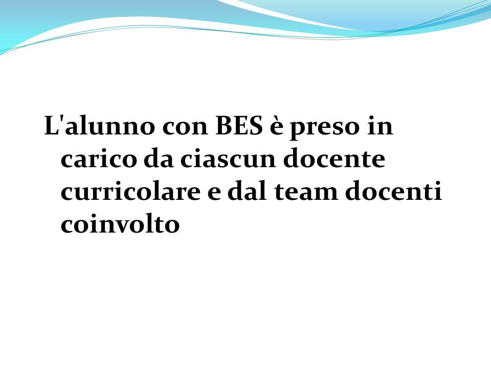 L'alunno con BES è preso in carico da ciascun docente curricolare e dal team docenti coinvolto