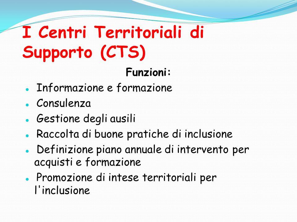 I Centri Territoriali di Supporto (CTS) Funzioni: Informazione e formazione Consulenza Gestione degli ausili Raccolta di buone pratiche di inclusione