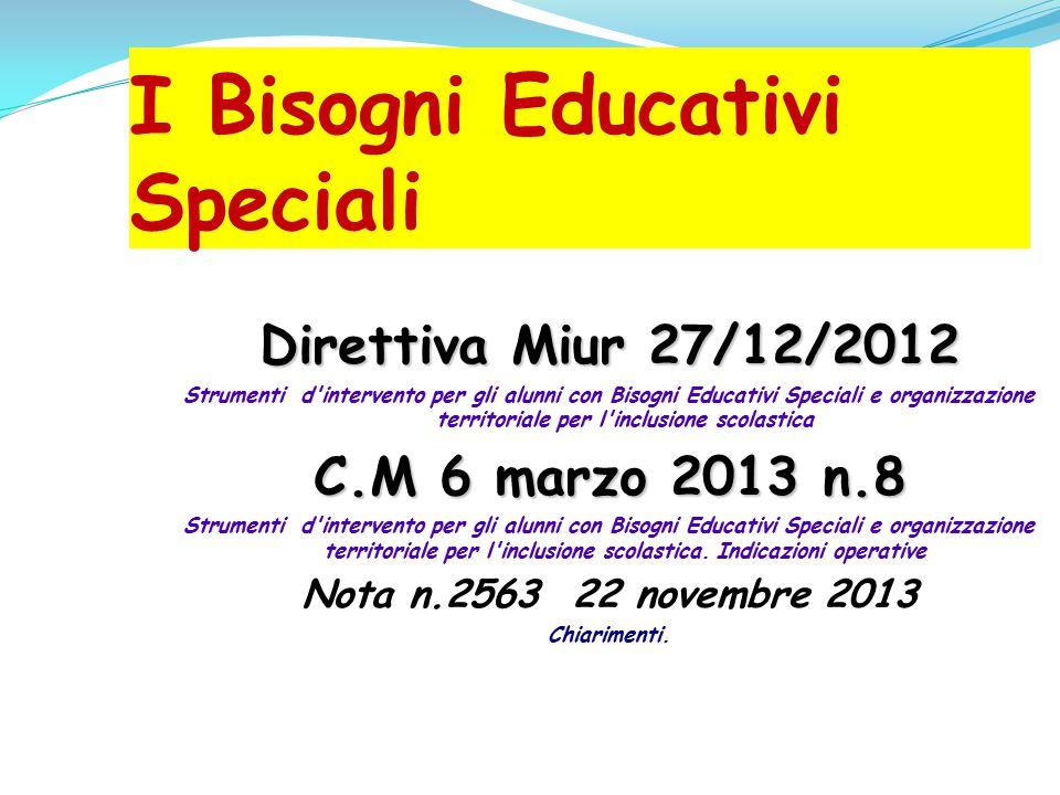 I Bisogni Educativi Speciali Direttiva Miur 27/12/2012 Strumenti d'intervento per gli alunni con Bisogni Educativi Speciali e organizzazione territori