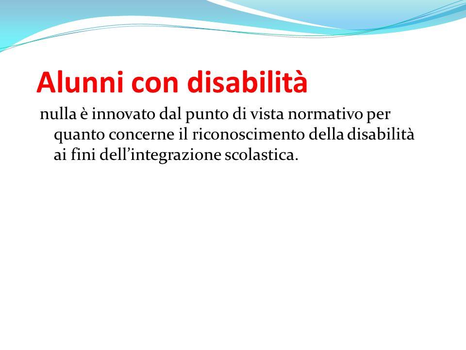 Alunni con disabilità nulla è innovato dal punto di vista normativo per quanto concerne il riconoscimento della disabilità ai fini dell'integrazione s