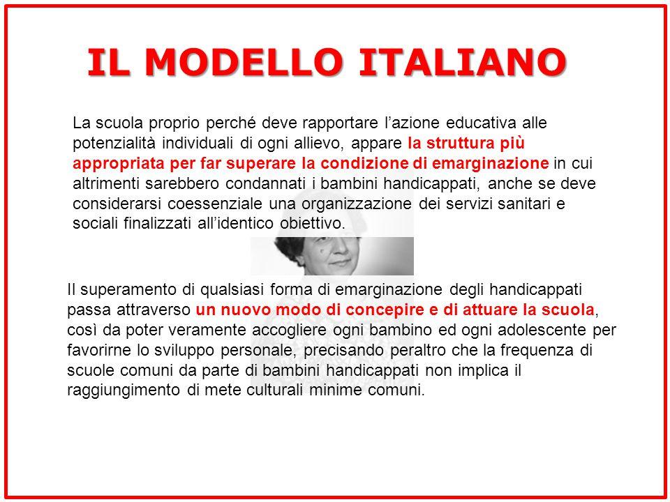 IL MODELLO ITALIANO La scuola proprio perché deve rapportare l'azione educativa alle potenzialità individuali di ogni allievo, appare la struttura più