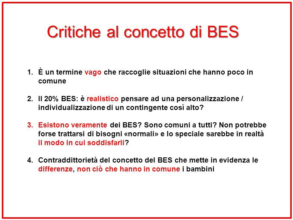 Critiche al concetto di BES 1.È un termine vago che raccoglie situazioni che hanno poco in comune 2.Il 20% BES: è realistico pensare ad una personaliz