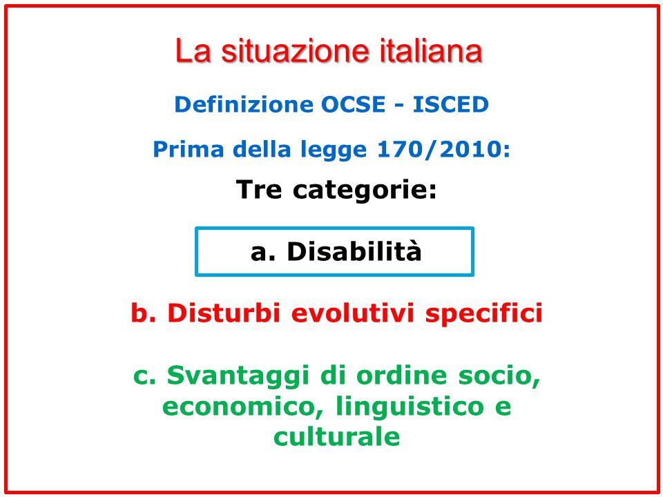 La situazione italiana Tre categorie: a. Disabilità b. Disturbi evolutivi specifici c. Svantaggi di ordine socio, economico, linguistico e culturale D
