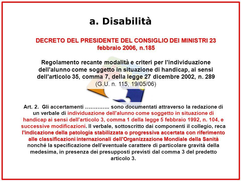 a. Disabilità DECRETO DEL PRESIDENTE DEL CONSIGLIO DEI MINISTRI 23 febbraio 2006, n.185 Regolamento recante modalità e criteri per l'individuazione de