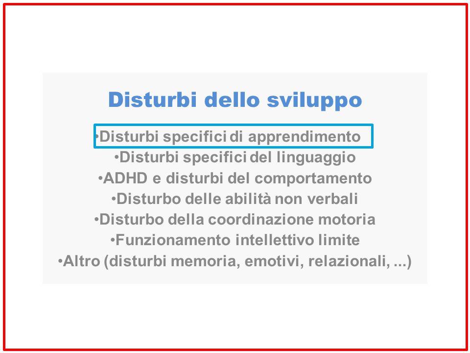 Disturbi dello sviluppo Disturbi specifici di apprendimento Disturbi specifici del linguaggio ADHD e disturbi del comportamento Disturbo delle abilità