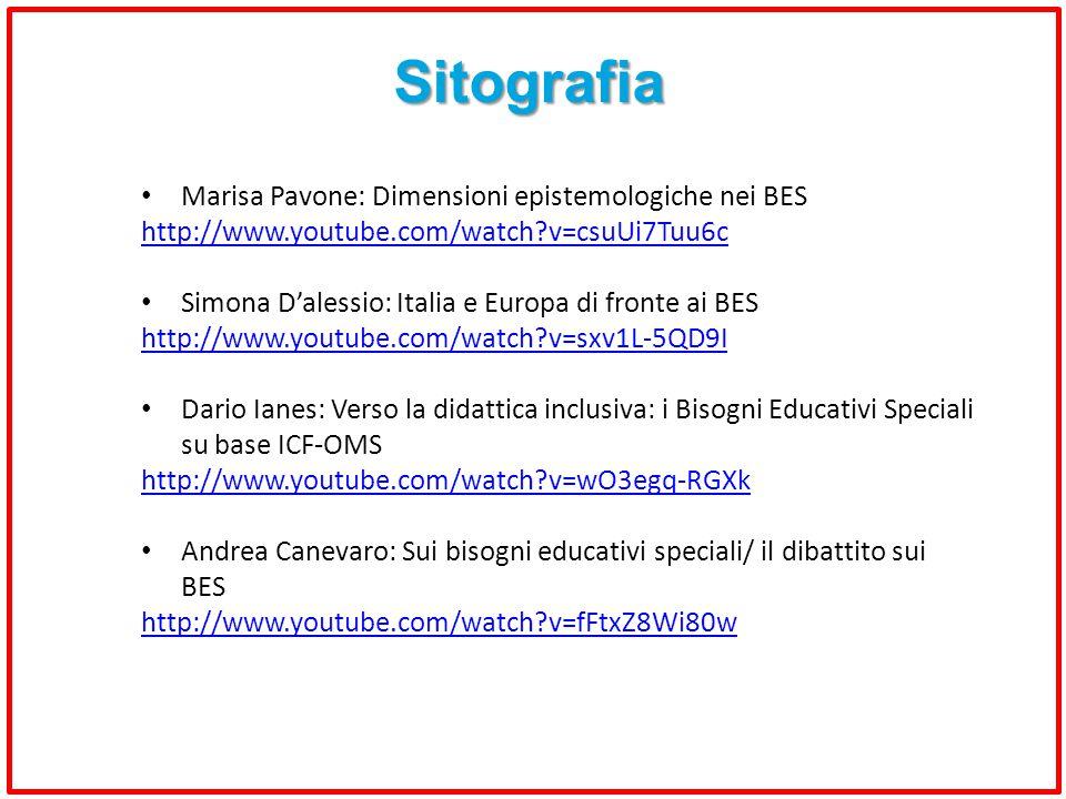 Sitografia Marisa Pavone: Dimensioni epistemologiche nei BES http://www.youtube.com/watch?v=csuUi7Tuu6c Simona D'alessio: Italia e Europa di fronte ai