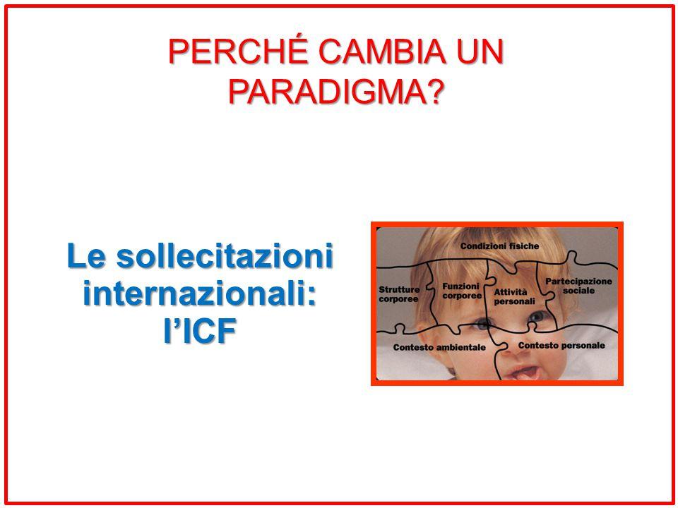 Le sollecitazioni internazionali: l'ICF PERCHÉ CAMBIA UN PARADIGMA?