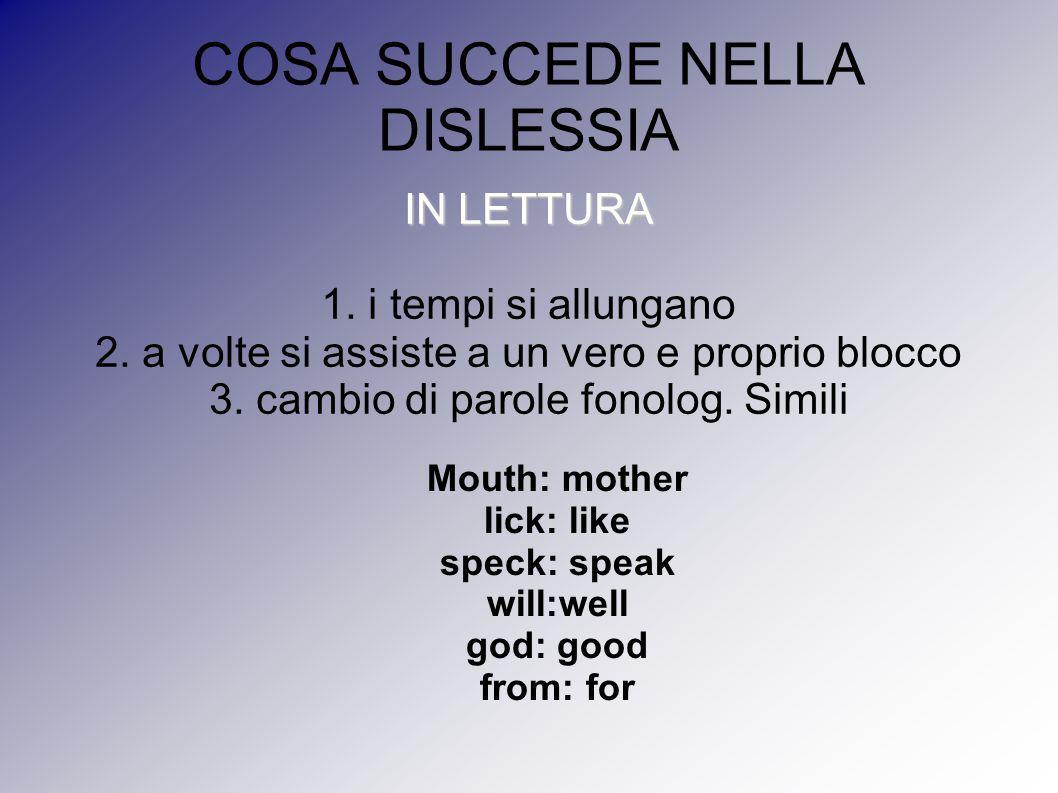COSA SUCCEDE NELLA DISLESSIA IN LETTURA 1. i tempi si allungano 2. a volte si assiste a un vero e proprio blocco 3. cambio di parole fonolog. Simili M