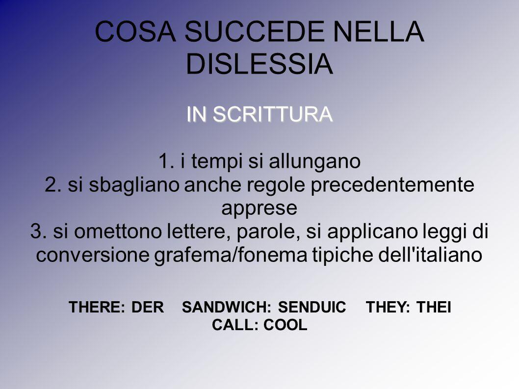 COSA SUCCEDE NELLA DISLESSIA IN SCRITTURA 1. i tempi si allungano 2. si sbagliano anche regole precedentemente apprese 3. si omettono lettere, parole,