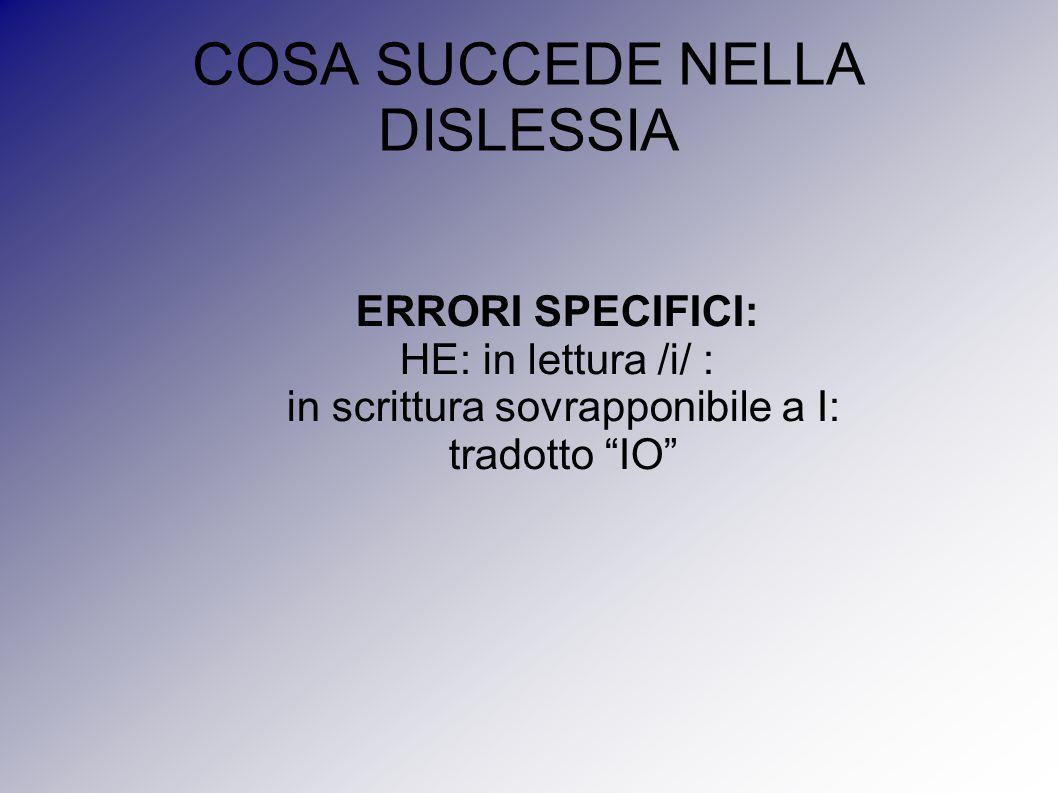 """COSA SUCCEDE NELLA DISLESSIA ERRORI SPECIFICI: HE: in lettura /i/ : in scrittura sovrapponibile a I: tradotto """"IO"""""""