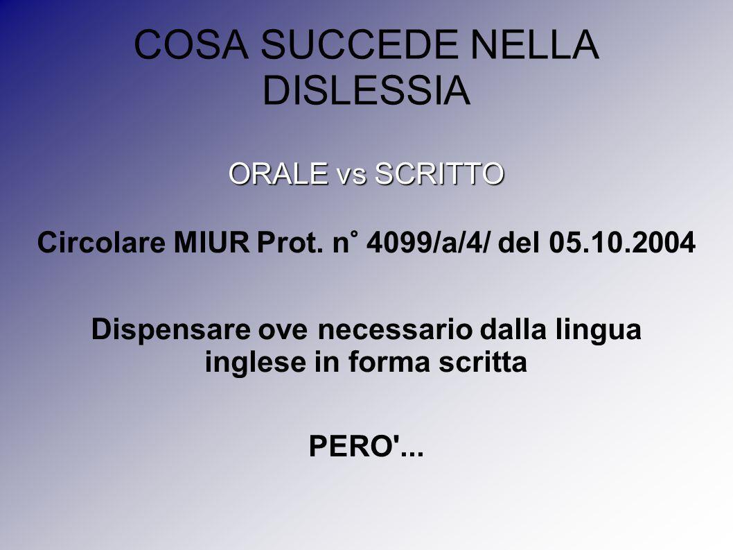 COSA SUCCEDE NELLA DISLESSIA ORALE vs SCRITTO Circolare MIUR Prot. n° 4099/a/4/ del 05.10.2004 Dispensare ove necessario dalla lingua inglese in forma