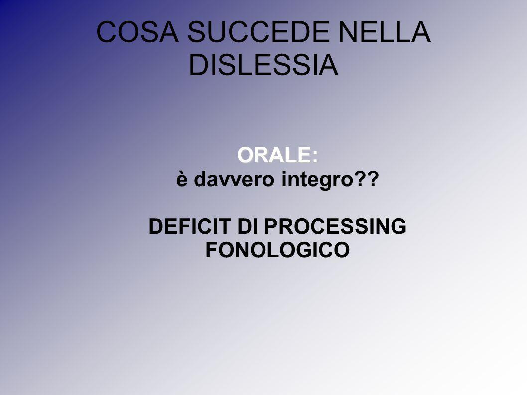 COSA SUCCEDE NELLA DISLESSIA ORALE: è davvero integro?? DEFICIT DI PROCESSING FONOLOGICO