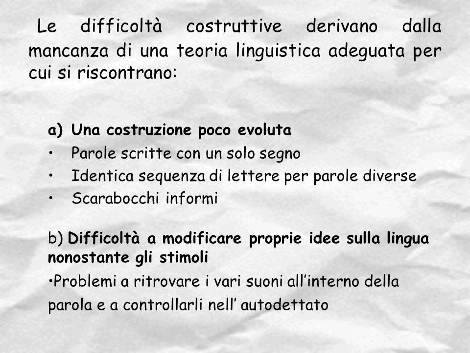 Le difficoltà costruttive derivano dalla mancanza di una teoria linguistica adeguata per cui si riscontrano: a)Una costruzione poco evoluta Parole scr