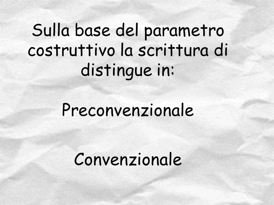 Sulla base del parametro costruttivo la scrittura di distingue in: Preconvenzionale Convenzionale