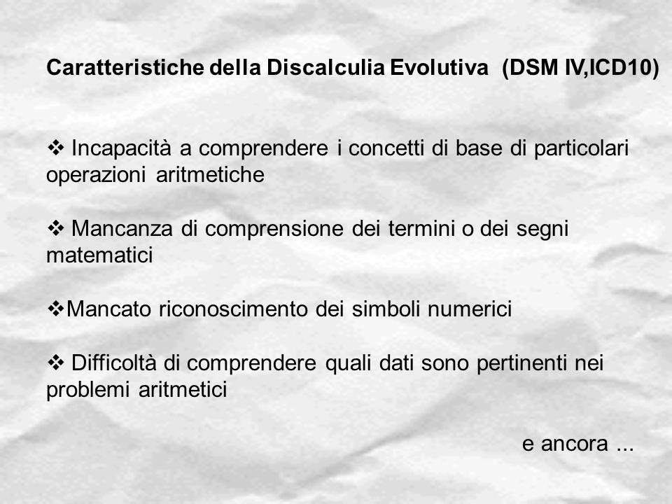 Caratteristiche della Discalculia Evolutiva (DSM IV,ICD10)  Incapacità a comprendere i concetti di base di particolari operazioni aritmetiche  Manca