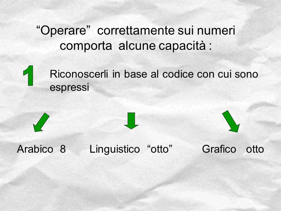 """""""Operare"""" correttamente sui numeri comporta alcune capacità : Riconoscerli in base al codice con cui sono espressi Arabico 8Linguistico """"otto""""Grafico"""