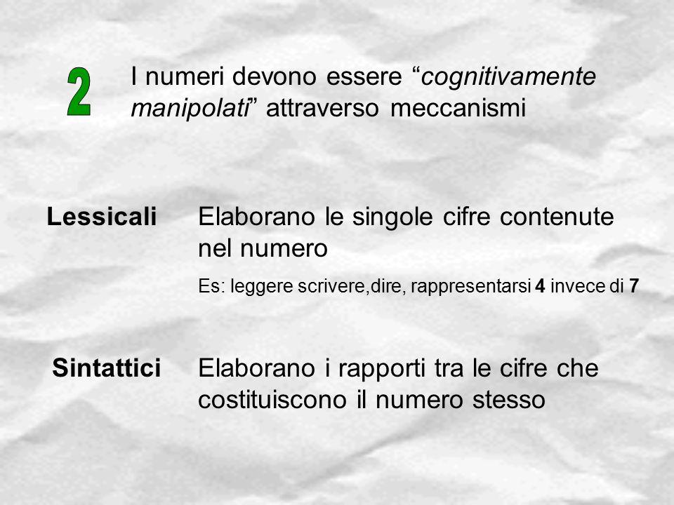"""I numeri devono essere """"cognitivamente manipolati"""" attraverso meccanismi Lessicali Sintattici Elaborano le singole cifre contenute nel numero Es: legg"""