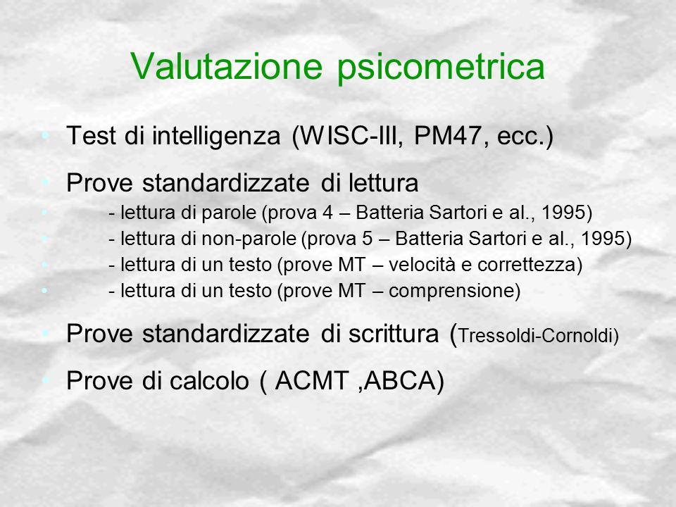 Valutazione psicometrica Test di intelligenza (WISC-III, PM47, ecc.) Prove standardizzate di lettura - lettura di parole (prova 4 – Batteria Sartori e