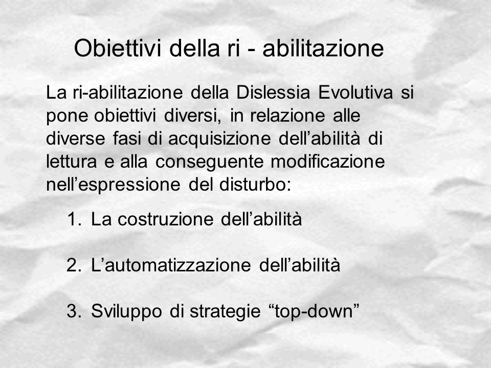 Obiettivi della ri - abilitazione La ri-abilitazione della Dislessia Evolutiva si pone obiettivi diversi, in relazione alle diverse fasi di acquisizio