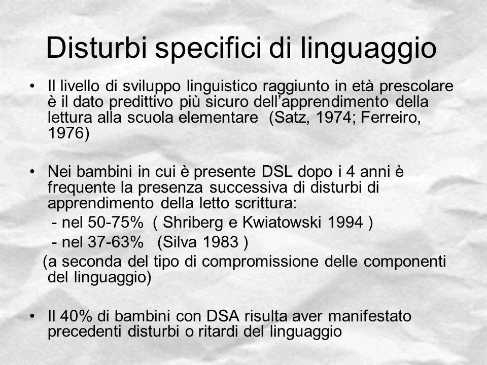 Disturbi specifici di linguaggio Il livello di sviluppo linguistico raggiunto in età prescolare è il dato predittivo più sicuro dell'apprendimento del