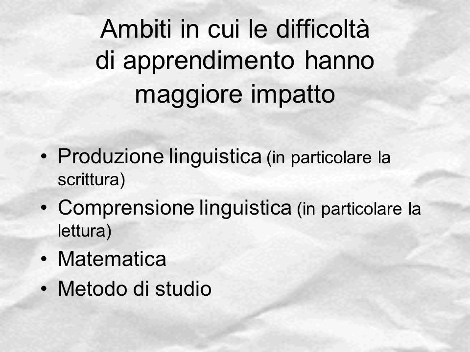 Ambiti in cui le difficoltà di apprendimento hanno maggiore impatto Produzione linguistica (in particolare la scrittura) Comprensione linguistica (in