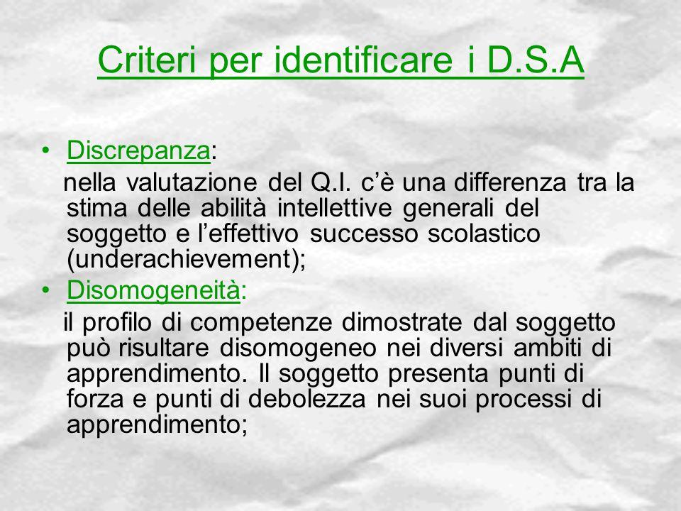Criteri per identificare i D.S.A Discrepanza: nella valutazione del Q.I. c'è una differenza tra la stima delle abilità intellettive generali del sogge