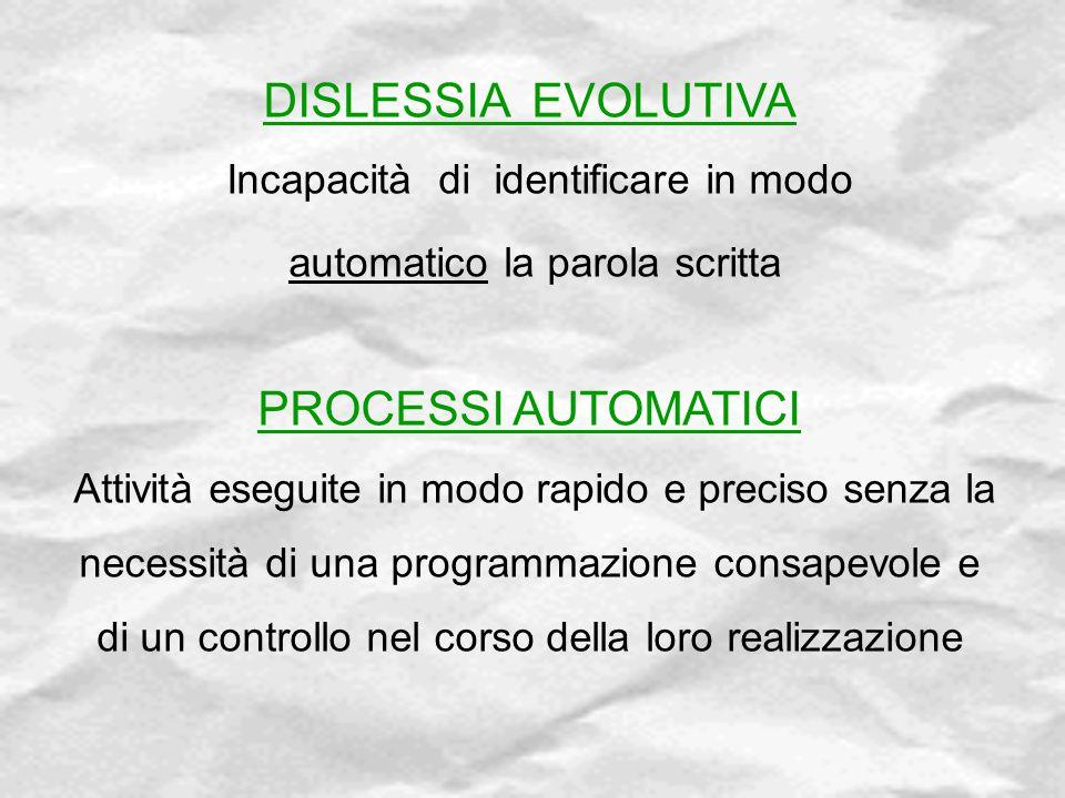 DISLESSIA EVOLUTIVA Incapacità di identificare in modo automatico la parola scritta PROCESSI AUTOMATICI Attività eseguite in modo rapido e preciso sen