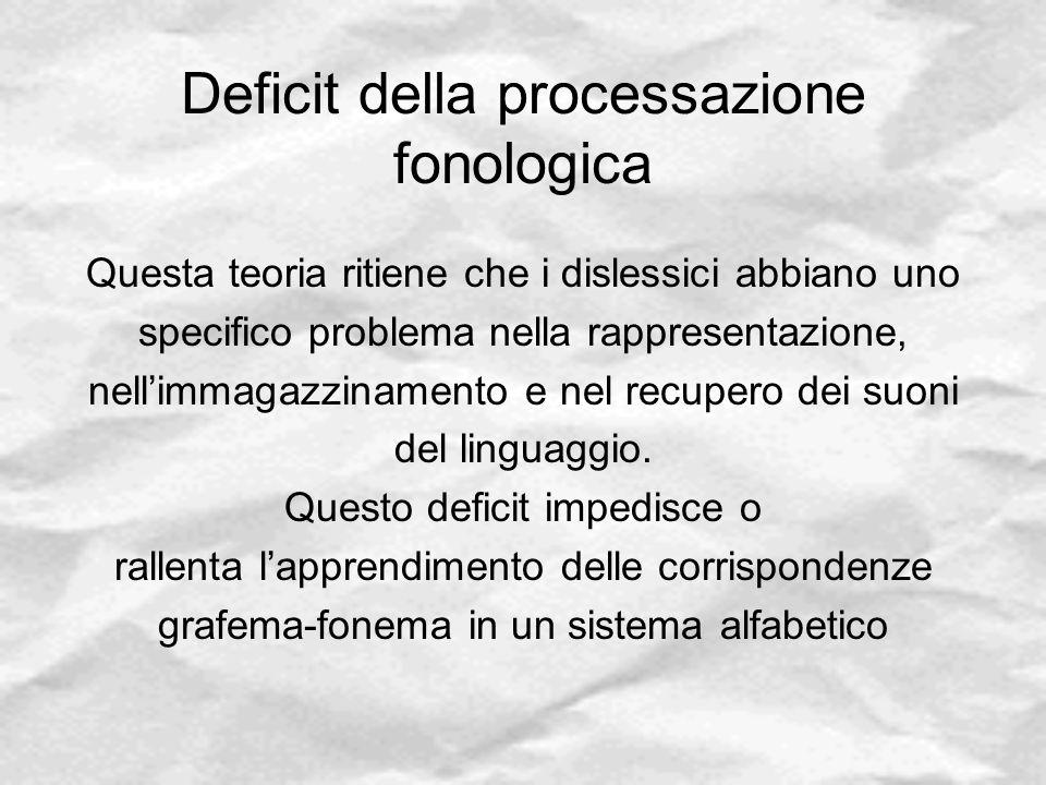 Deficit della processazione fonologica Questa teoria ritiene che i dislessici abbiano uno specifico problema nella rappresentazione, nell'immagazzinam