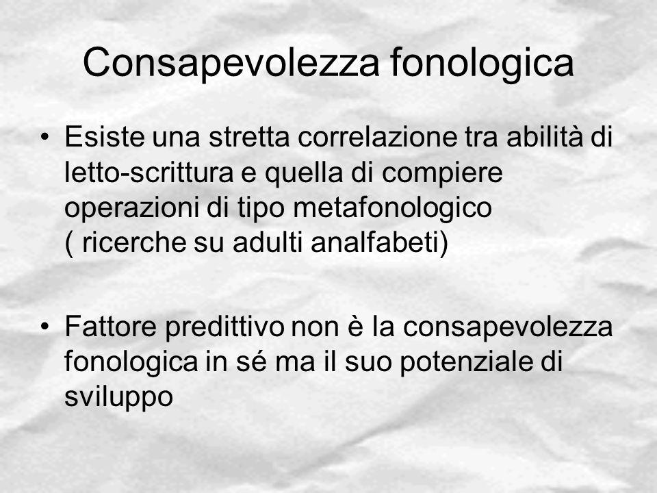 Consapevolezza fonologica Esiste una stretta correlazione tra abilità di letto-scrittura e quella di compiere operazioni di tipo metafonologico ( rice