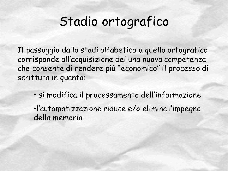 Stadio ortografico Il passaggio dallo stadi alfabetico a quello ortografico corrisponde all'acquisizione dei una nuova competenza che consente di rend