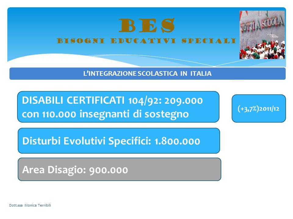 BES bisogni educativi speciali L'INTEGRAZIONE SCOLASTICA IN ITALIA DISABILI CERTIFICATI 104/92: 209.000 con 110.000 insegnanti di sostegno (+3,7%)2011