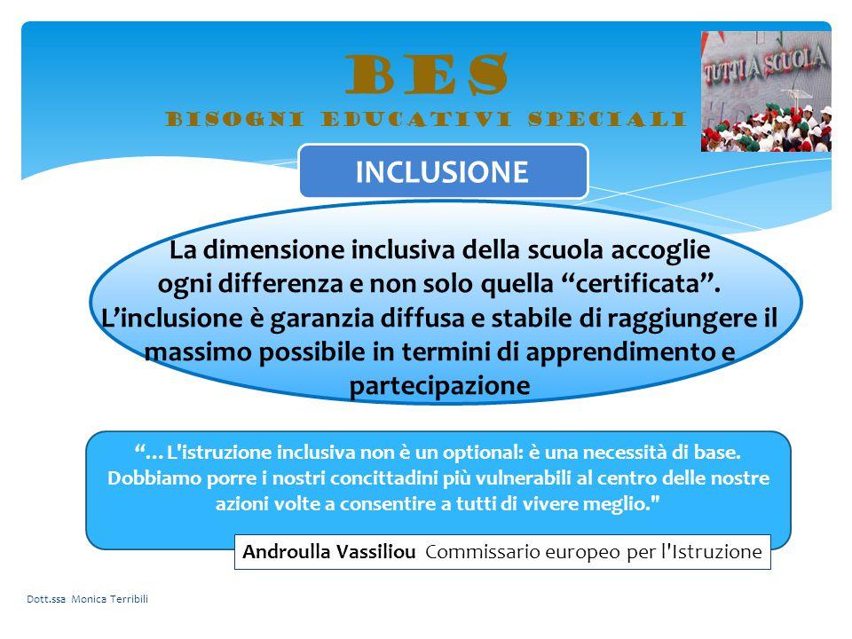 """BES bisogni educativi speciali INCLUSIONE La dimensione inclusiva della scuola accoglie ogni differenza e non solo quella """"certificata"""". L'inclusione"""