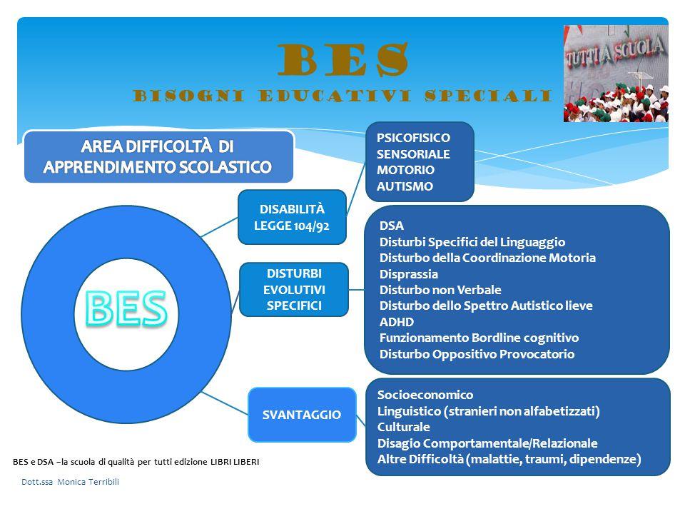 BES bisogni educativi speciali DISABILITÀ LEGGE 104/92 DISTURBI EVOLUTIVI SPECIFICI SVANTAGGIO PSICOFISICO SENSORIALE MOTORIO AUTISMO DSA Disturbi Spe