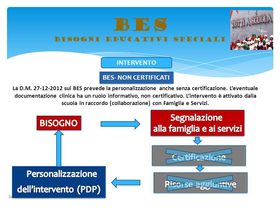 BES bisogni educativi speciali BES- NON CERTIFICATI La D.M. 27-12-2012 sui BES prevede la personalizzazione anche senza certificazione. L'eventuale do