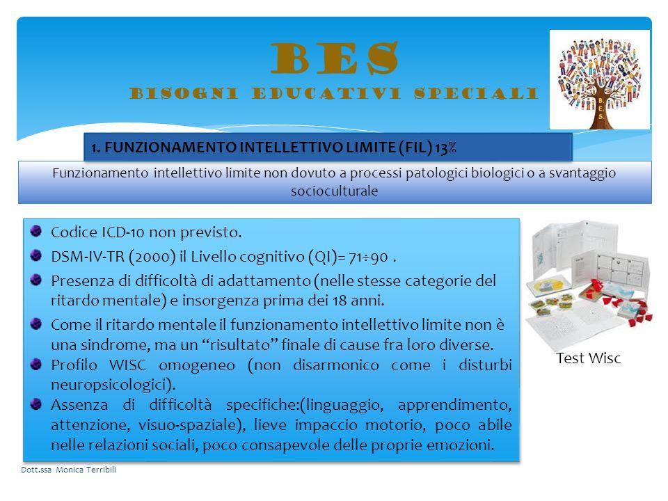BES bisogni educativi speciali Codice ICD-10 non previsto. DSM-IV-TR (2000) il Livello cognitivo (QI)= 71÷90. Presenza di difficoltà di adattamento (n