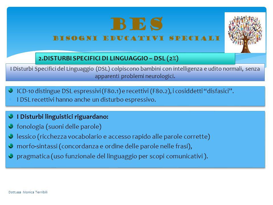 BES bisogni educativi speciali I Disturbi linguistici riguardano: fonologia (suoni delle parole) lessico (ricchezza vocabolario e accesso rapido alle