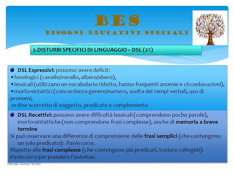 BES bisogni educativi speciali DSL Espressivi: possono avere deficit: fonologici (cavallo/vavallo, albero/abero), lessicali (utilizzano un vocabolario