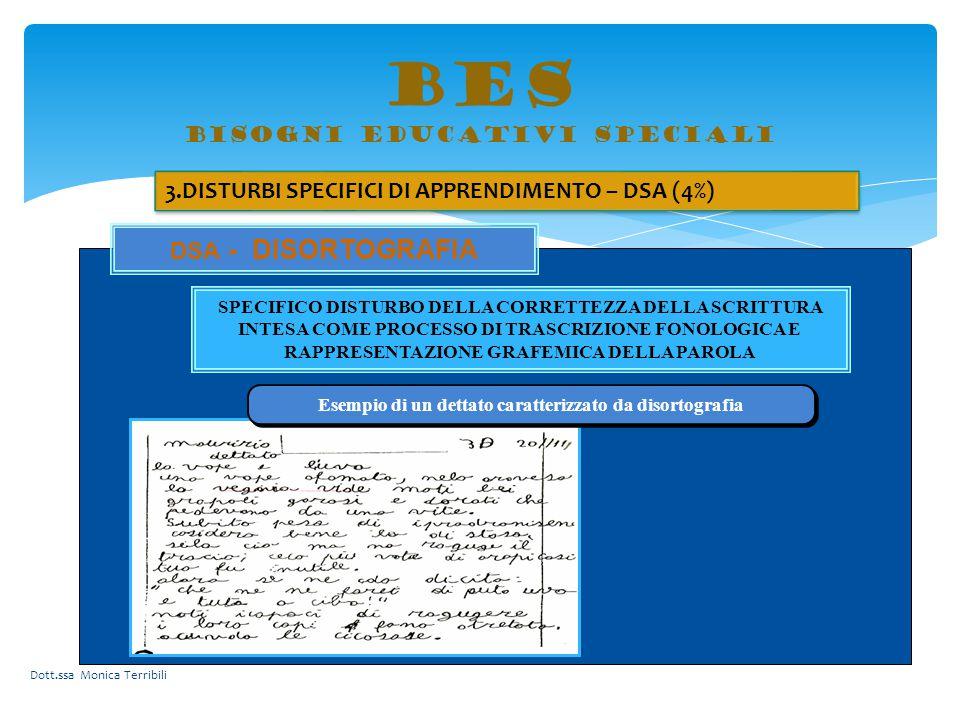 BES bisogni educativi speciali 3.DISTURBI SPECIFICI DI APPRENDIMENTO – DSA (4%) ATTIVAZIONE AREE CEREBRALI DSA - DISORTOGRAFIA SPECIFICO DISTURBO DELL