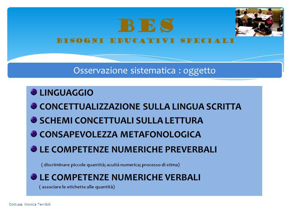 BES bisogni educativi speciali Dott.ssa Monica Terribili Osservazione sistematica : oggetto LINGUAGGIO CONCETTUALIZZAZIONE SULLA LINGUA SCRITTA SCHEMI
