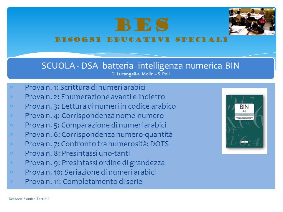 BES bisogni educativi speciali Dott.ssa Monica Terribili SCUOLA - DSA batteria intelligenza numerica BIN D. Lucangeli-a. Molin – S. Poli  Prova n. 1: