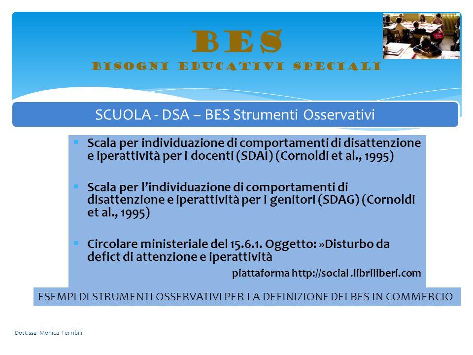 BES bisogni educativi speciali Dott.ssa Monica Terribili SCUOLA - DSA – BES Strumenti Osservativi ESEMPI DI STRUMENTI OSSERVATIVI PER LA DEFINIZIONE D